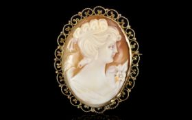 Antique Period 9ct Gold Mounted Oval Shaped Shell Cameo of Nice Quality,