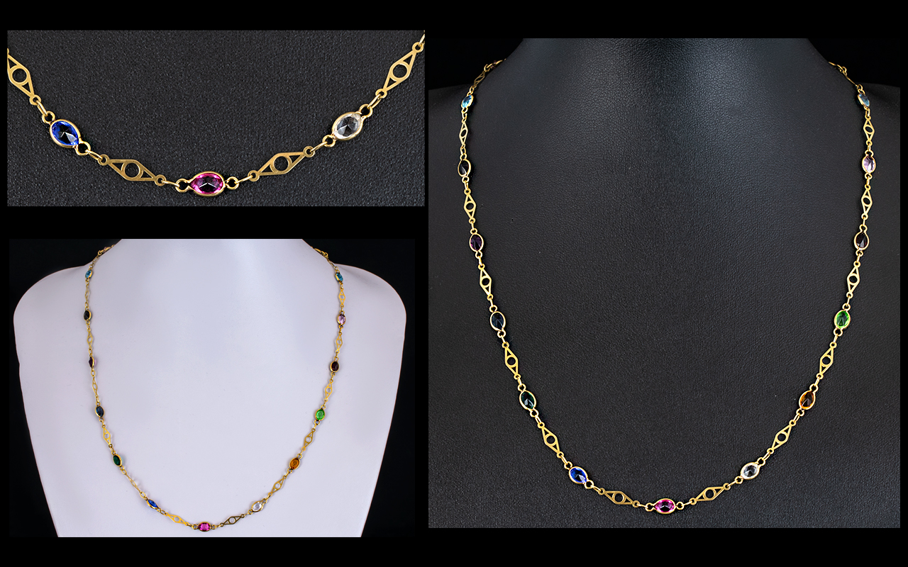 Lot 50 - Ladies 9ct Gold Attractive Stone Set Necklace, Comprises Amethysts, Periods & Topaz,
