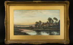 Early 20th Century Framed Print Depicting a rural landscape with river to foreground housed in gilt
