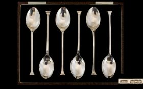 Art Deco Period Set of Six SIlver Coffee Spoons, With Original Box.