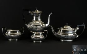 Victorian Period 4 Piece Solid Silver Tea and Coffee Set of Good Proportions with Half Ribbed