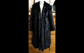 Full Length Dark Brown Mink Coat fully lined in polysatin with embroidered detail to lower inside