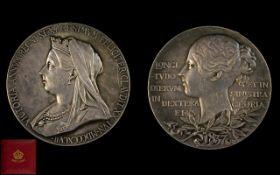 Queen Victoria Diamond Jubilee Large Silver Medallion 1837-1897, near mint condition.