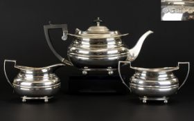 George V Solid Silver 3 Piece Tea Service, Ribbed Body Design. Raised on 4 Ball Feet.