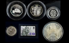 A Good Collection Of Royal Mint Silver Coins Five Sets In Total (1) Britannia Two Pound Silver