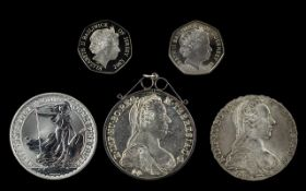 Small Collection Of Solid Silver Coins, Five (5) In Total comprises 1.
