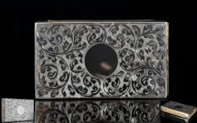 Edwardian Period Combined Ornate Silver Match Holder / Vesta Case,