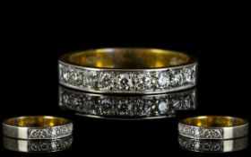 18ct Gold Attractive Half-Eternity Diamond Set Ring marked 750 - 18ct.