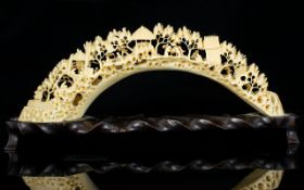 Japanese - Finely Carved and Intricate Ivory Bridge, with Figures / Houses,