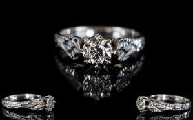18ct White Gold Single Stone Diamond Ring, Illusion Set, Diamond of Good Colour. Marked 18ct. Ring