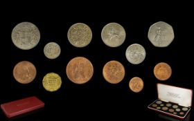 Queen Elizabeth II Coin Set 1971 Great Britain's last issue using the LSD issue together with the