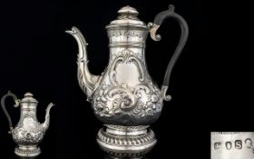 George III Superb Quality Repousse Work Solid Silver Swan Neck Coffee Pot, Wonderful Proportions.