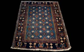 Late 19th/ 20th Century Wool Carpet Small rectangular carpet dark blue ground with geometric floral
