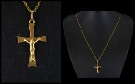 18ct Yellow Gold Cross with Attached 9ct Gold Long Chain. Both Hallmarked for 18ct & 9ct Gold.