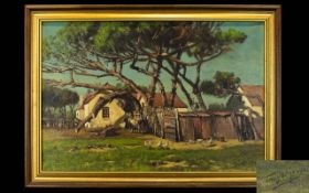 Tinus De Jongh (Dutch 1885 - 1942) Untitled Oil On Canvas Depicting South African rural scene with