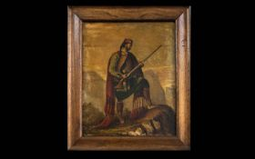 Original Oil on Canvas - Stuck on Board, glazed and housed in rustic wood frame. Depicts a soldier