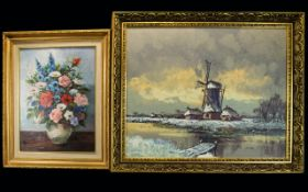 Framed Oil On Canvas Large impasto oil depicting a winter landscape with windmill,