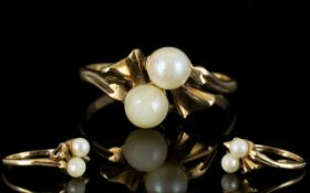 Ladies Attractive Pearl Set 9ct Gold Dre