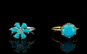 Two Sleeping Beauty Mine Turquoise Rings