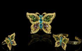 Multi Gemstone Butterfly Interchangeable