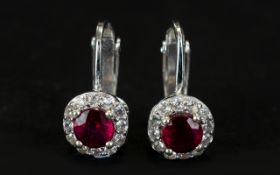 Ruby and White Zircon Clip-On Earrings,