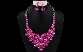 Shocking Pink Crystal Statement Necklace