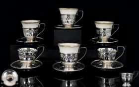 Antique Set of Six Silver Open-worked Co