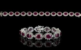 Ruby and Natural White Zircon Line Brace
