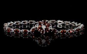 Red Garnet Line and Flower Bracelet, a f