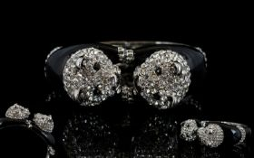 White Crystal and Black Enamel Double Pa