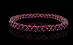 Rhodolite Garnet Multi-Row Bead Bracelet