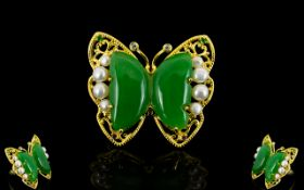 Green Jade and White Cultured Pearl Butt