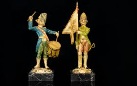 A Pair Of Novelty Resin Soldier Figures