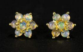 Pair of Opal Flower or Star Stud Earring