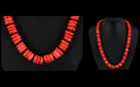 Coral - Heavy Rondelle Beaded Necklace w