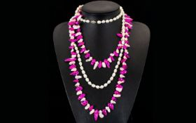 Two Contemporary Pearl Necklaces Each in