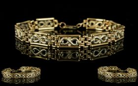 9ct Gold - Two Tone Fancy Bracelet with