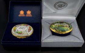 Bilston and Battersea Enamels Lidded Oval Shaped Pill Box 'Kinnaird'.