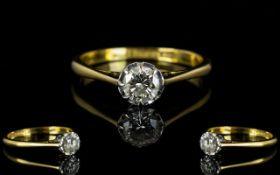 18ct Gold and Platinum Single Stone Diamond Ring - The round brilliant cut Diamond of excellent