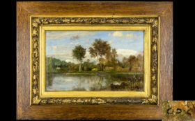 Attributed To Charles - François Daubigny (French 1817 - 1878) Oil On Board Untitled River Scene.