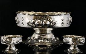 European - Nice Quality Late 19th Century Ornate Silver Fruit Bowl Decorated with Embossed Images of