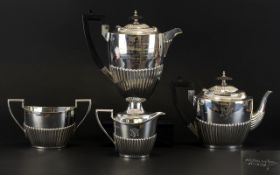 Edwardian Period Silver Four Piece Tea/Coffee Service comprises 1 large coffee pot, teapot,