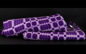 Welsh Tapestry Blankets in attractive purple and grey woven squares design.