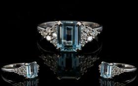 Ladies 18ct White Gold Aquamarine And Diamond Ring Wonderful dress ring with raised,