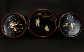A Set Of Three Japanese Inlaid Panels Circular wall mounted panels,