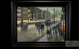Steven Scholes Born 1952 - Titled ' Market Street ' Manchester 1962,