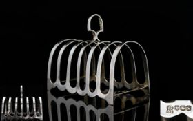 Elizabeth ll Period 6 Tier Silver Toast Rack Of Good Proportions / Shape In Pristine Condition.