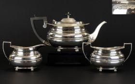 George V Solid Silver 3 Piece Tea Service, Ribbed Body Design. Raised on 4 Ball Feet. Hallmark