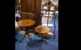A Small Collection of Furniture to include 4 tier walnut whatnot 50 inches tall and 2 tripod tables