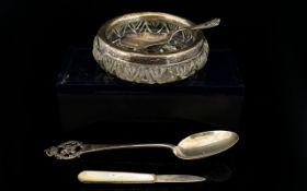 A Small Collection Of Silver Items To include mother of pearl handle fruit knife, small caddy spoon,